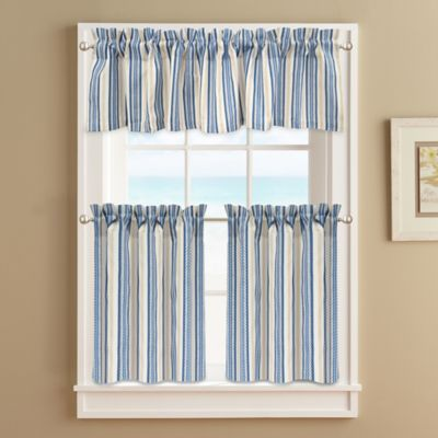 Ropes Window Curtain Tier Pair in Blue  Bed Bath  Beyond