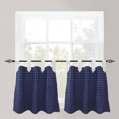 Buy Park B Smith Picnic 24 Inch Check Tab Top Cafe Curtain Pair In Navy From Bed Bath Amp Beyond