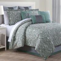 Clara 9-Piece Comforter Set in Green/Grey - www ...