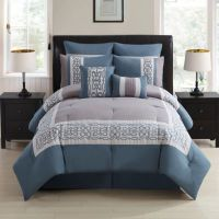 Dorsey 8-Piece Comforter Set in Grey/Blue - Bed Bath & Beyond