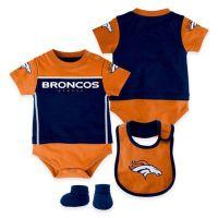 NFL Denver Broncos Lil Jersey 3-Piece Creeper, Bib, and ...