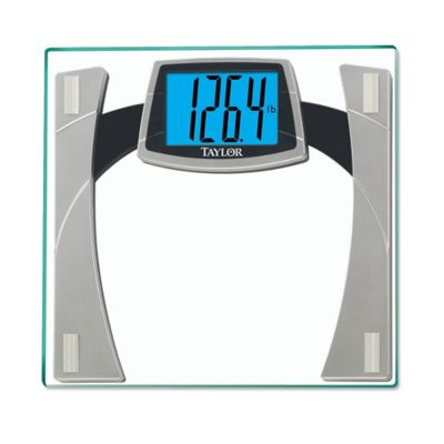 Taylor Digital Glass Bathroom Scale with Large Readout in WhiteSilver  Bed Bath  Beyond