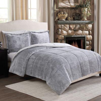 Frosted Fur Reversible Comforter Set WwwBedBathandBeyondcom