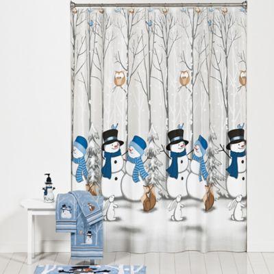 Winter friends shower curtain and hooks set bedbathandbeyond com