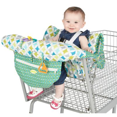 bed bath beyond chairs best rated office nuby™ shopping cart and high chair cover in green/white - www.buybuybaby.com