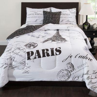 Paris Reversible Comforter Set in Black/White