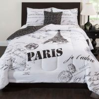 Paris Reversible Comforter Set in Black/White