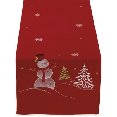 Embroidered Snowman 70 Inch Table Runner In Red Www