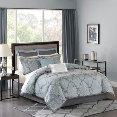 Madison Park Lavine Comforter Set in Blue  Bed Bath  Beyond