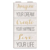"Inspirational ""Imagine, Create, Live"" Wood Wall Art - Bed ..."