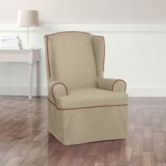 Sure Fit Slipcovers Wing Chair 6 Patio Set Fit® Monaco Armchair Slipcover In Khaki/red - Bed Bath & Beyond