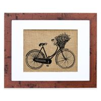 Buy Dutch Bicycle Burlap Wall Art in Rustic Walnut Frame ...