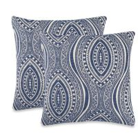 Moroccan Tile Throw Pillow in Indigo (Set of 2) - Bed Bath ...