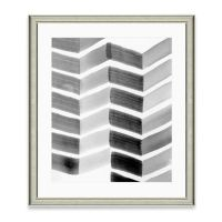 Framed Gicle Watercolor Grey Chevron Print Wall Art - Bed ...
