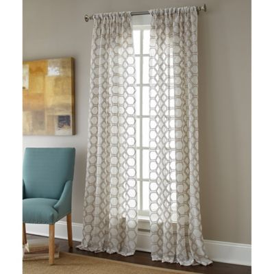 Sherry Kline Contempo Rod Pocket Embroidered Sheer Window Curtain Panel WwwBedBathandBeyondcom