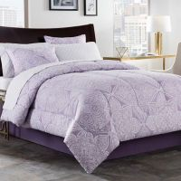 Lea 6-8 Piece Comforter Set in Purple/White - Bed Bath ...