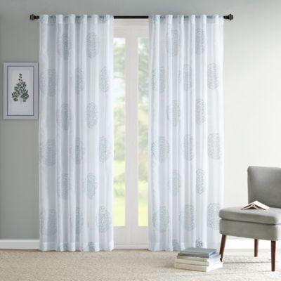 Madison Park Genia Rod PocketBack Tab Sheer Branch Flocking Window Curtain Panel Bed Bath