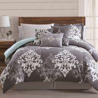 12-Piece Textured Damask Comforter Set in Grey/Teal - Bed ...