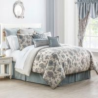 4-Pc Waterford Valerie QUEEN Comforter Set Blue Ivory ...