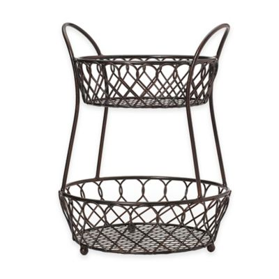 Buy 2-Tier Wire Fruit Basket in Black from Bed Bath & Beyond