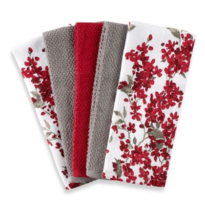 Cherry Blossom 5Pack Kitchen Towel Set in RedWhite  Bed