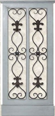 Iron and Wood Panel Wall Art in Grey