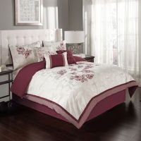 Buy Melrose 6-Piece Twin Comforter Set in Burgundy from ...