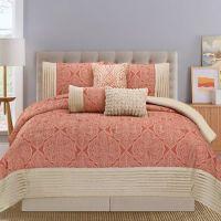 Buy Montpellier 7-Piece Queen Comforter Set in Coral/Tan ...