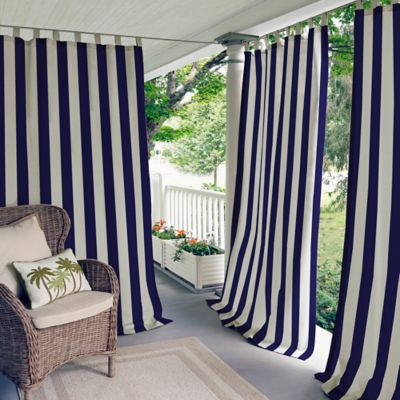 Elrene Highland Stripe IndoorOutdoor Tab Top Window Curtain Panel  Bed Bath  Beyond