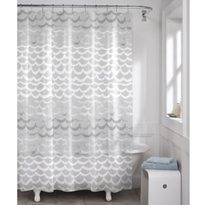 Maytex Waves PEVA Shower Curtain in White and Silver  Bed Bath  Beyond
