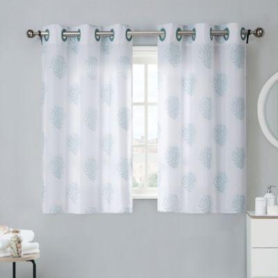 Coral Reef 38Inch Bath Window Curtain Tier Pair in Grey