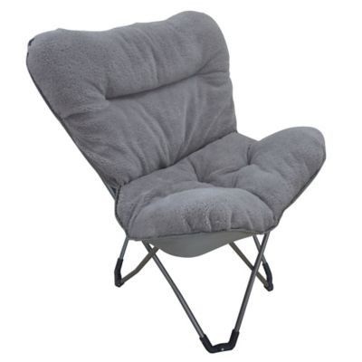Folding Plush Butterfly Chair in Grey  Bed Bath  Beyond
