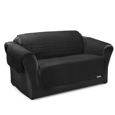 quilted microsuede sofa cover regency buy furniture covers bed bath beyond quick for leather premium waterproof loveseat in black