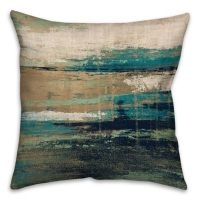 18-Inch Square Abstract Square Throw Pillow in Blue/Brown ...