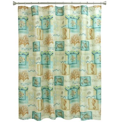 Bacova Chevron Beach Shower Curtain In BlueCoral Bed