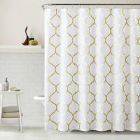 VCNY Metallic Ogee Shower Curtain in Gold/White - Bed Bath ...