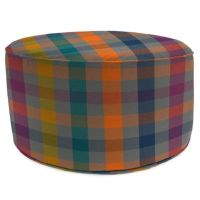 Outdoor Round Pouf Ottoman in Sunbrella Connect Twilight ...