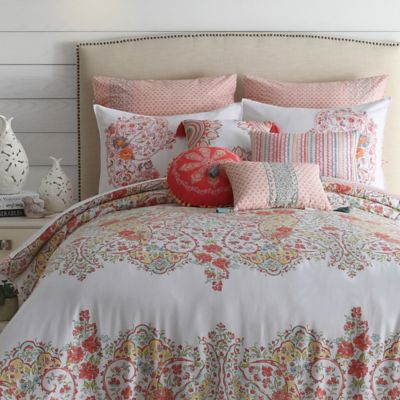 Jessica Simpson Sabine Reversible Comforter Set In Coral
