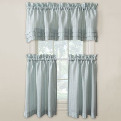 Buy Langley 24 Inch Kitchen Window Curtain Tier Pair In Aqua From Bed Bath Amp Beyond