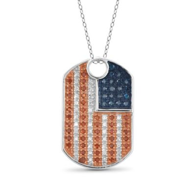 Sterling Silver 25 cttw Red White and Blue Diamond