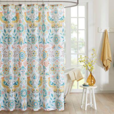 Intelligent Design Nina Printed Shower Curtain In Yellow