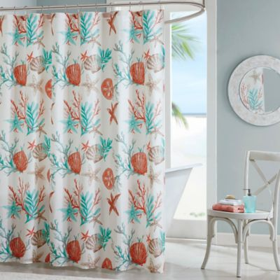 Madison Park Pebble Beach Printed Shower Curtain In Coral