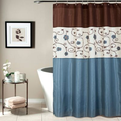 Buy Brown Blue Shower Curtain From Bed Bath & Beyond