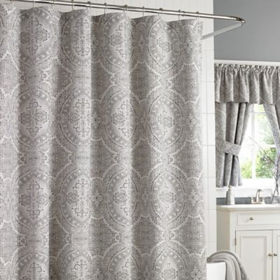 J Queen New York Colette Shower Curtain in Silver  Bed Bath  Beyond