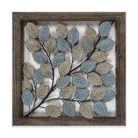 Leaves Metal Wall Art in Blue & Cream - Bed Bath & Beyond