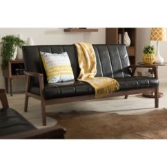 Black Leather Living Room Decorating Ideas Color Schemes Buy Furniture Bed Bath And Beyond Canada Baxton Studio Nikko Faux 3 Seater Sofa In