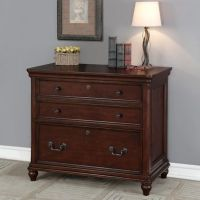 Oxford 3 Drawer Lateral File Cabinet in Dark Wood - Bed ...