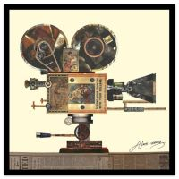 Antique Film Projector Collage Wall Art by Alex Zeng - Bed ...