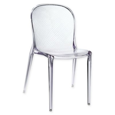 acrylic side chair with cushion covers for wedding ebay buy chairs bed bath beyond modway scape dining in clear