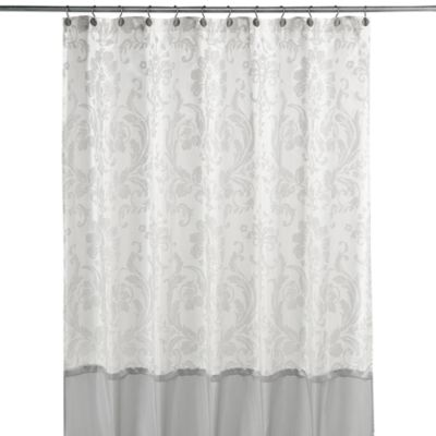 Rosewood Silver And White Fabric Shower Curtain By Nicole Miller